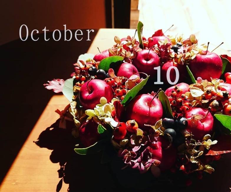 10月21日赤いりんごのリース作りのWS♪〈終了しました〉